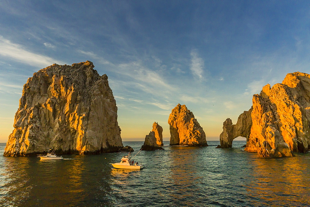 Sunrise with fishing boats at Land's End, Cabo San Lucas, Baja California Sur, Gulf of California, Mexico, North America