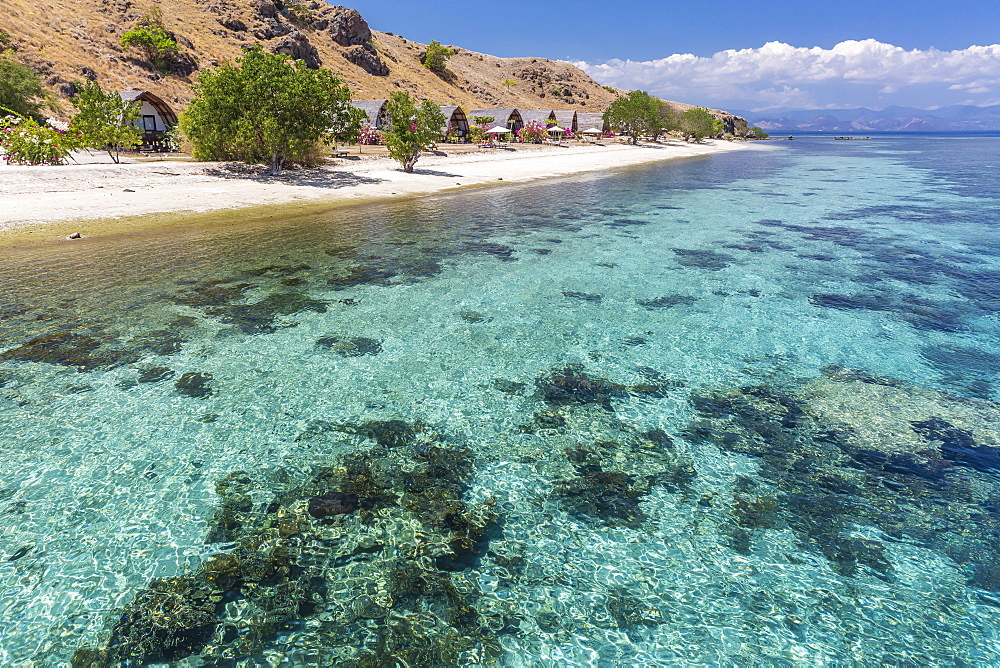 Komodo Diving Resort outdoor bungalows on Sebayur Island, Komodo Island National Park, Indonesia, Southeast Asia, Asia