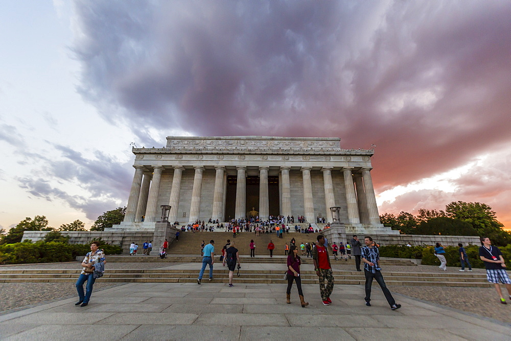 Exterior view of the Lincoln Memorial at sunset, Washington D.C., United States of America, North America