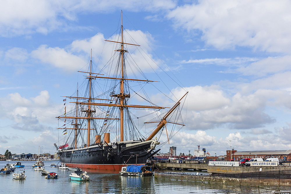 View of the HMS Warrior in the harbour of Portsmouth, Hampshire, England, United Kingdom, Europe