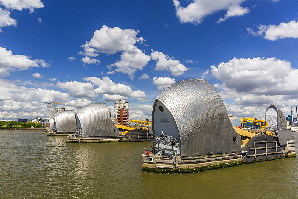 The Thames Flood Barrier between Greenwich and Woolwich on the River Thames, London, England, United Kingdom, Europe