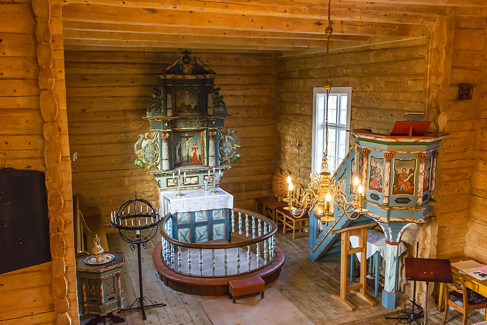 Interior view of the small Norwegian church in the fishing village of Traena, located on the Arctic Circle, Norway, Scandinavia, Europe