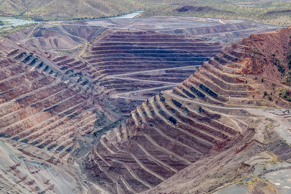 Aerial view of the Argyle Diamond mine, Kimberley, Western Australia, Australia, Pacific
