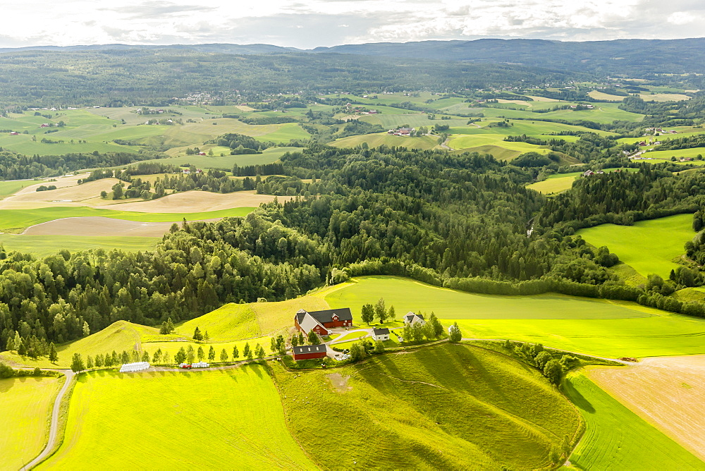 Aerial view of farmland surrounding Oslo taken on a commercial flight to Oslo, Norway, Scandinavia, Europe