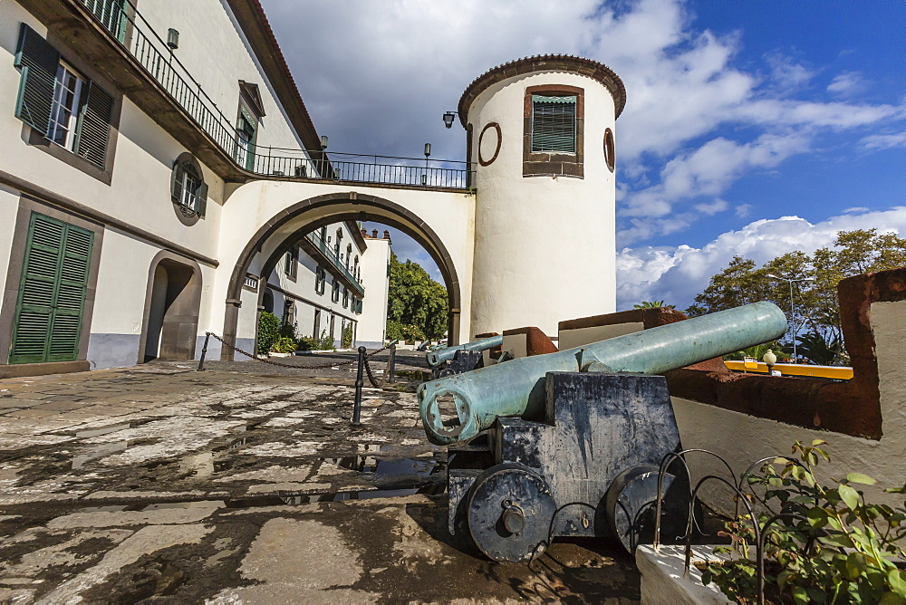 Cannon at the Palacio de Sao Lourenco in the heart of the city of Funchal, Madeira, Portugal, Europe