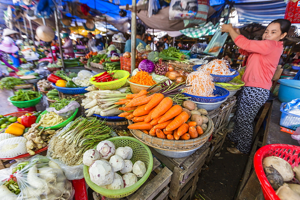Fresh produce at local market in Chau Doc, Mekong River Delta, Vietnam, Indochina, Southeast Asia, Asia