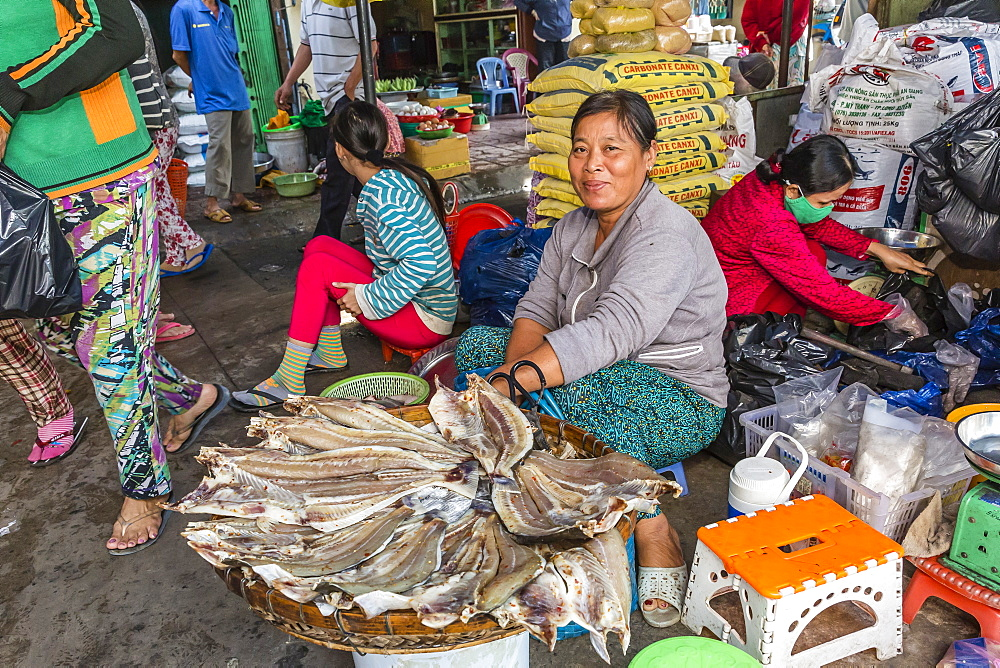 Woman selling dried fish at the local market in Chau Doc, Mekong River Delta, Vietnam, Indochina, Southeast Asia, Asia