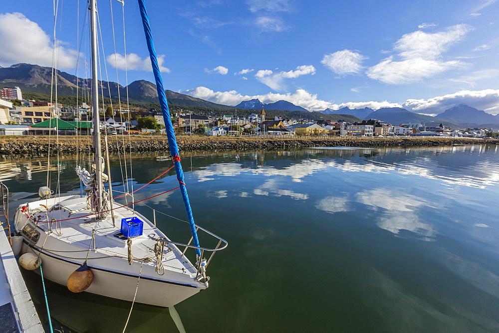 Sailboats docked along the small boat harbor in Ushuaia, Argentina, South America