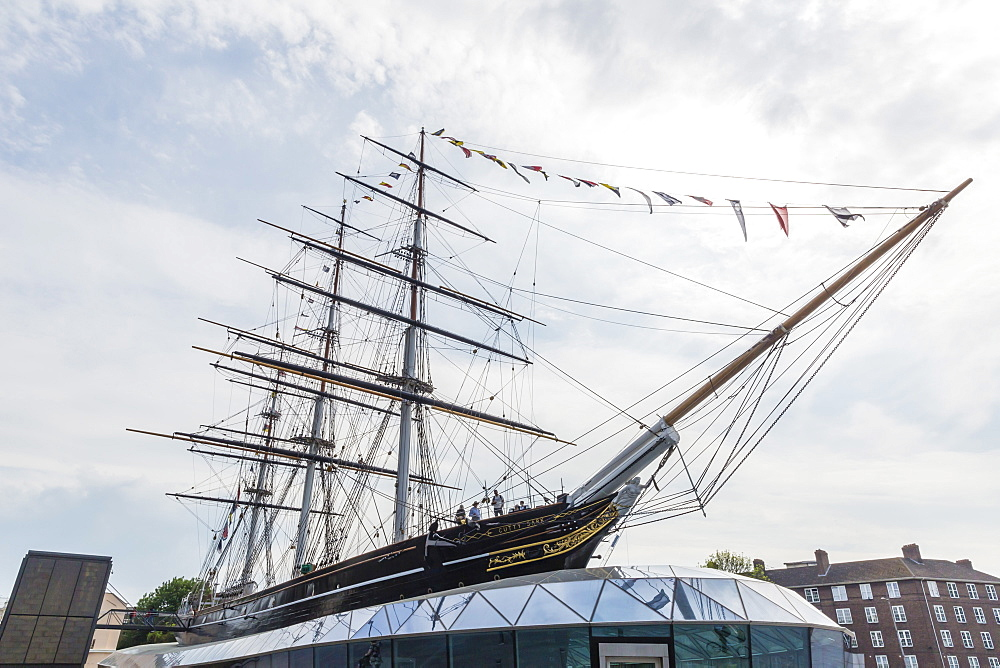 The clipper ship Cutty Sark on display at Greenwich Pier, Greenwich, London, England, United Kingdom, Europe