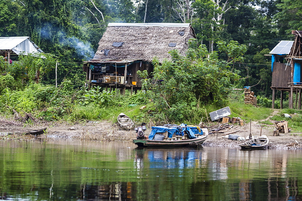 Small village on the El Dorado River, Upper Amazon River Basin, Loreto, Peru, South Ame
