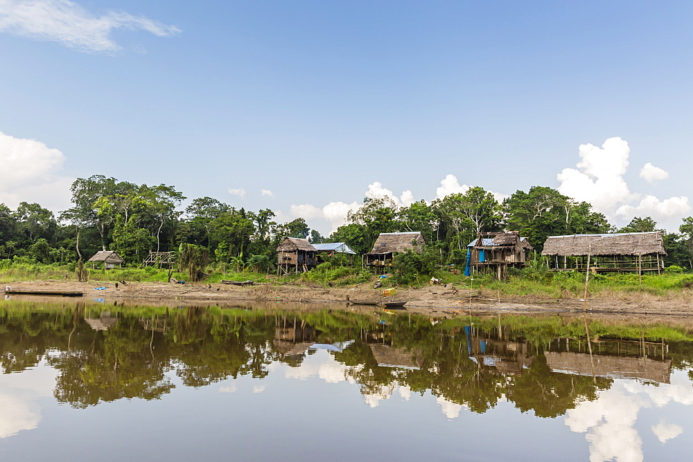 Village on the banks of the El Dorado, Upper Amazon River Basin, Loreto, Peru, South America