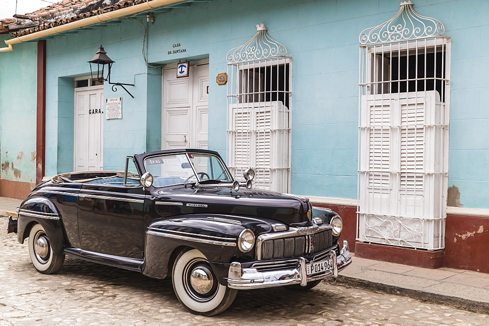 A vintage 1948 American Mercury Eight working as a taxi in the town of Trinidad, UNESCO World Heritage Site, Cuba, West Indies, Caribbean, Central America