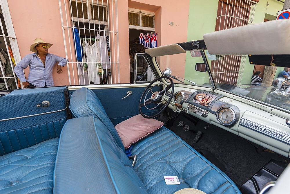 A vintage 1948 Mercury Eight American car working as a taxi, in the town of Trinidad, Cuba, West Indies, Caribbean, Central America