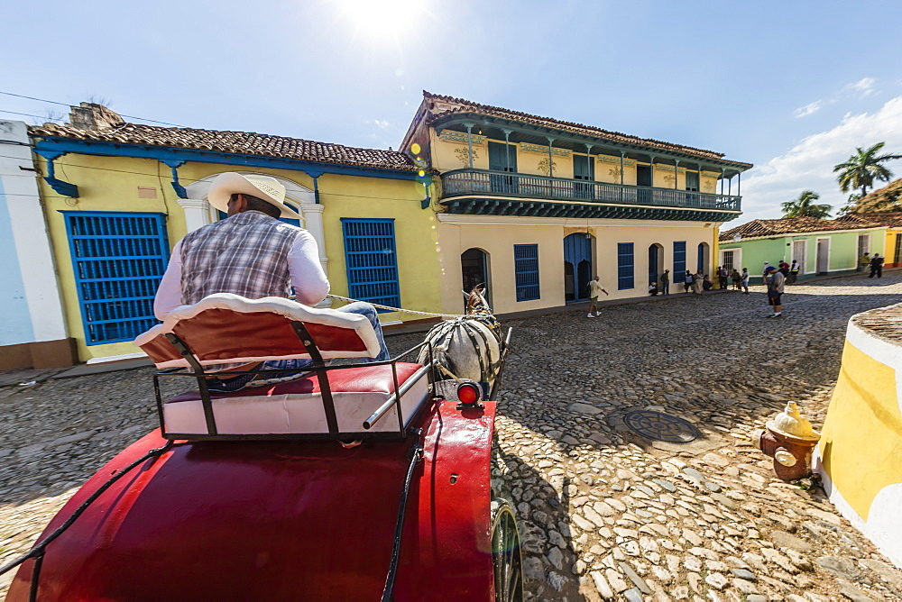 A horse-drawn cart known locally as a coche in Plaza Mayor, Trinidad, UNESCO World Heritage Site, Cuba, West Indies, Caribbean, Central America