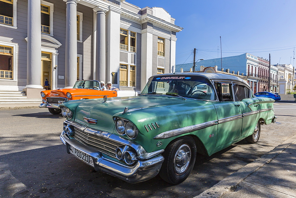 Classic 1958 Chevrolet Bel Air taxi, locally called an 'almendrone' in the town of Cienfuegos, Cuba.