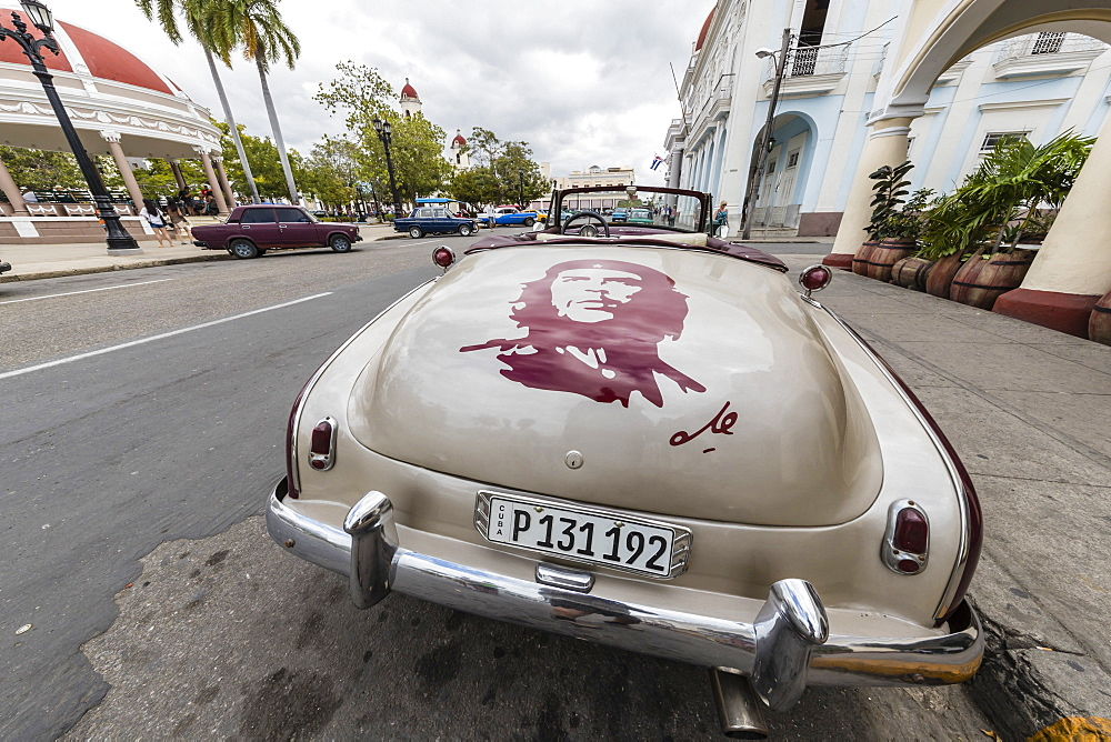 Classic Chevrolet Bel Air taxi with custom Che paint job in the town of Cienfuegos, Cuba, West Indies, Caribbean, Central America