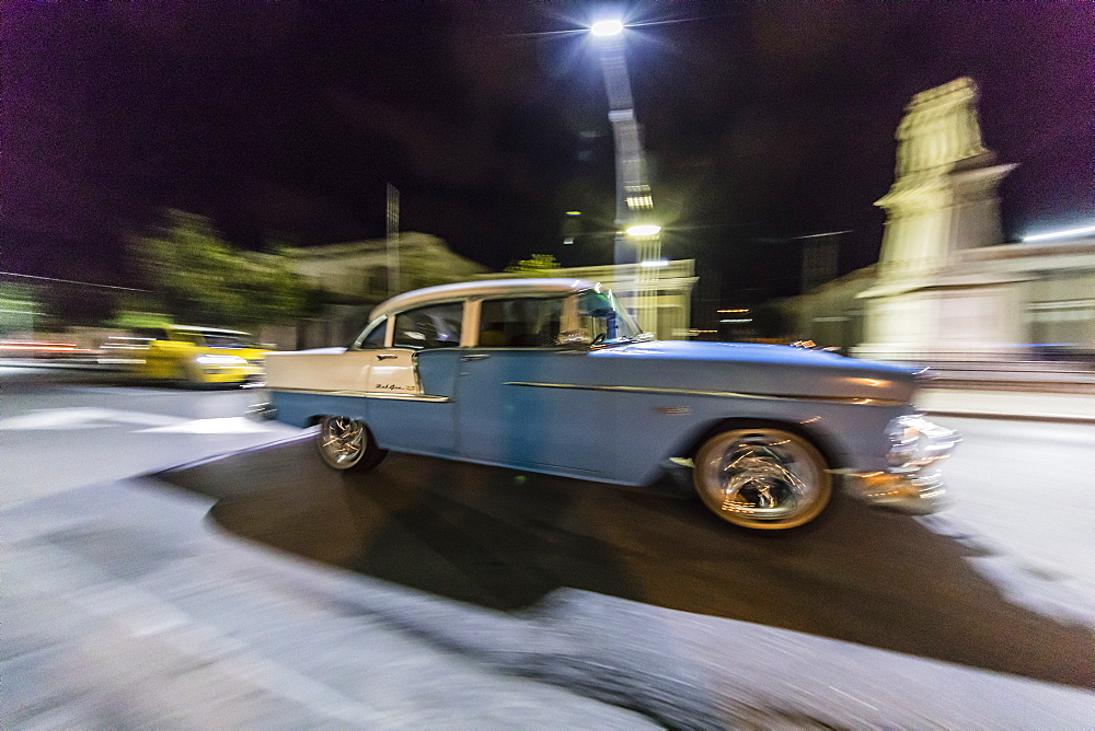 Classic 1955 Chevrolet Bel Air taxi, locally known as almendrones in the town of Cienfuegos, Cuba, West Indies, Caribbean, Central America