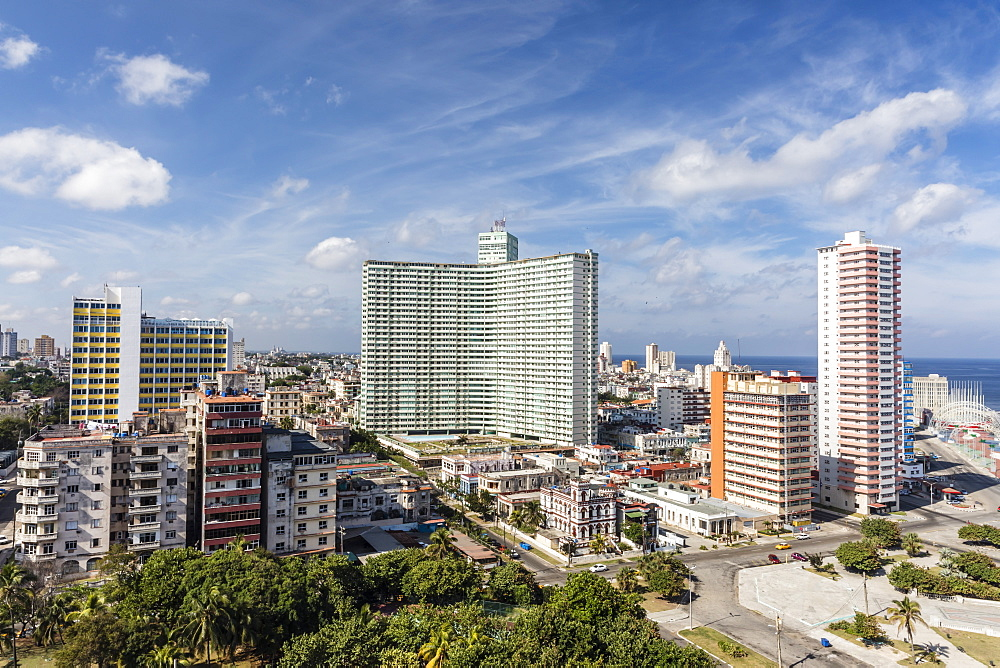 Cityscape view looking west of the town of Vedado, taken from the roof of the Hotel Nacional, Havana, Cuba, West Indies, Central America