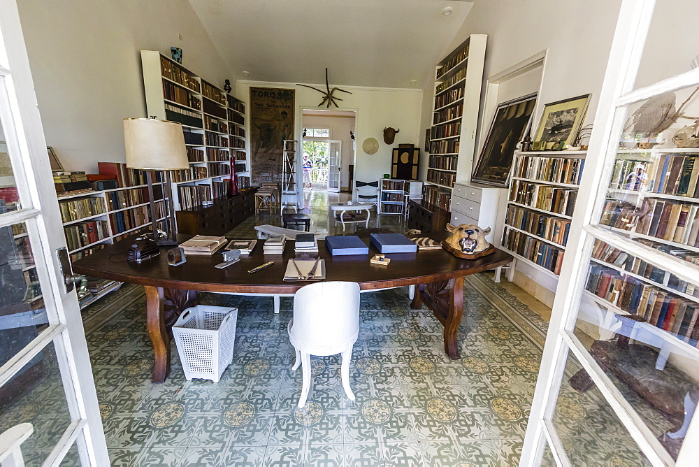 The library at Finca Vigia (Finca La Vigia), the home of Ernest Hemingway in San Francisco de Paula Ward in Havana, Cuba, West Indies, Central America