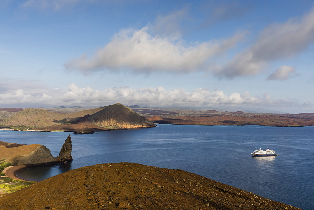 The National Geographic Endeavour II at anchor on Bartolome Island, Galapagos, UNESCO World Heritage Site, Ecuador, South America