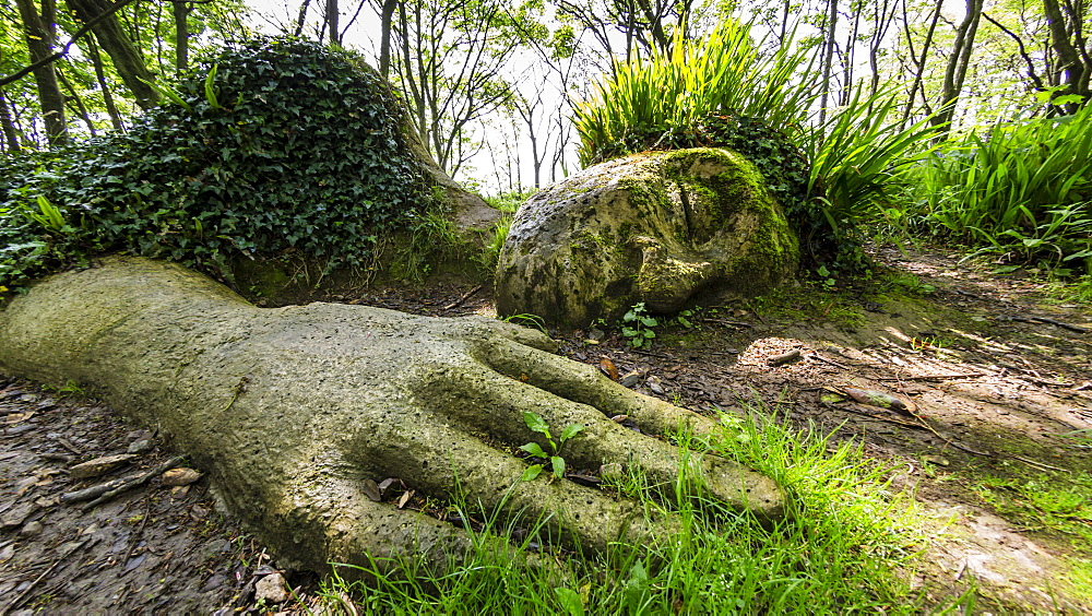 The Mud Maid plant and rock sculpture at the Lost Gardens of Heligan, Cornwall, England.