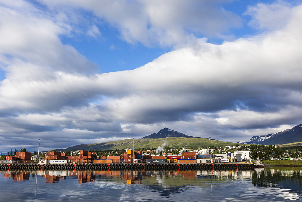 The commercial fishing and shipping harbour of Akureyri, off the north coast of Iceland.