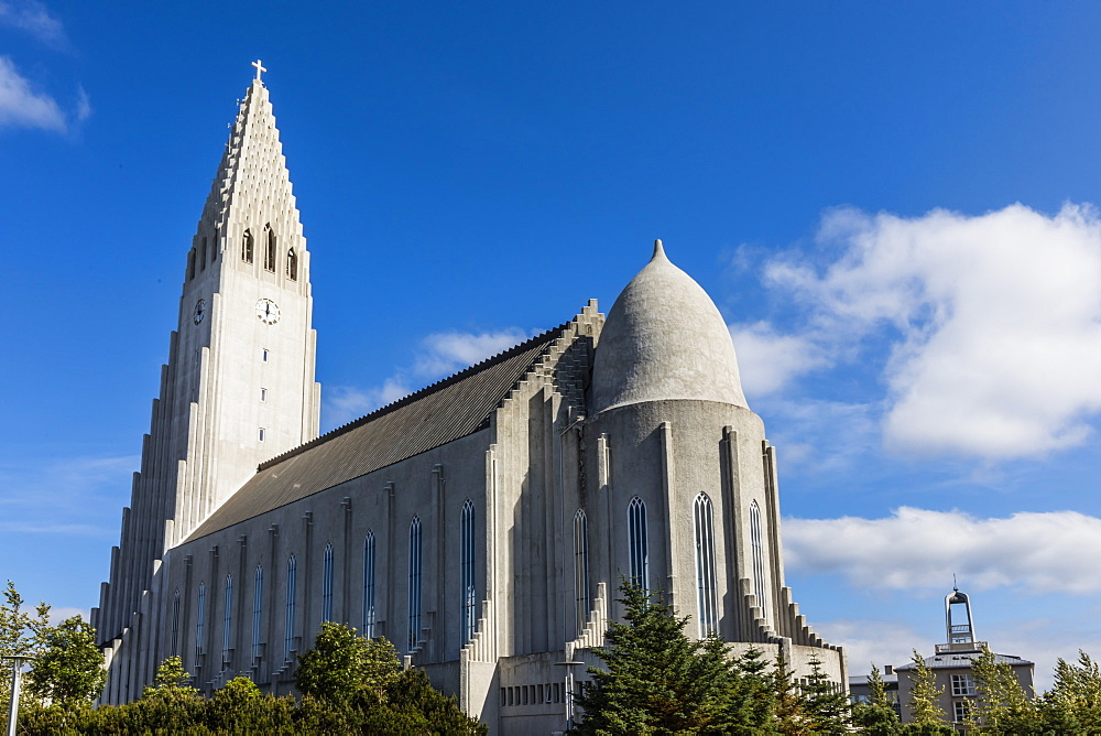 Exterior view of Hallgrimskirkja, the largest Lutheran church in Reykjavik, Iceland, Polar Regions