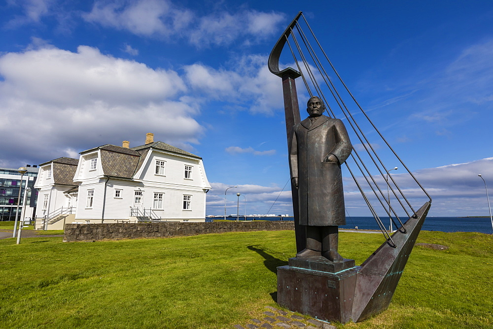 A statue of Einar Benediktsson near the Hofoi House in Reykjavik, Iceland, Polar Regions