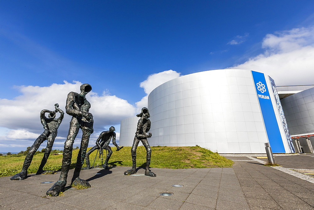 Exterior view of statues in front of The Perlan Museum, in Reykjavik, Iceland, Polar Regions