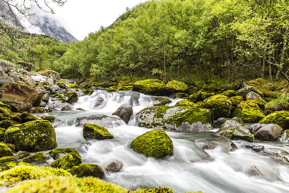 Snowmelt river running strongly in Briksdal Valley, Olden, Norway, Scandinavia, Europe