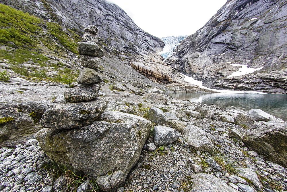 Retreating Briksdal Glacier at the head of Briksdal Valley, Olden, Norway, Scandinavia, Europe