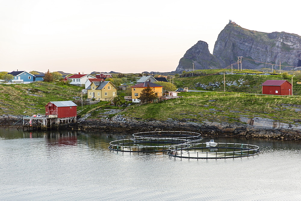 Sunset in the fishing town of Traena (Trana) located on the Arctic Circle, Norway, Scandinavia, Europe