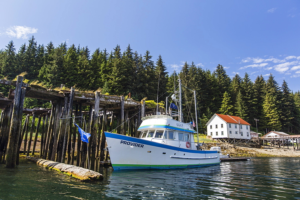 Fishing boat at the dock on Pond Island in Kelp Bay, Baranof Island, southeast Alaska, USA. - 1112-3803