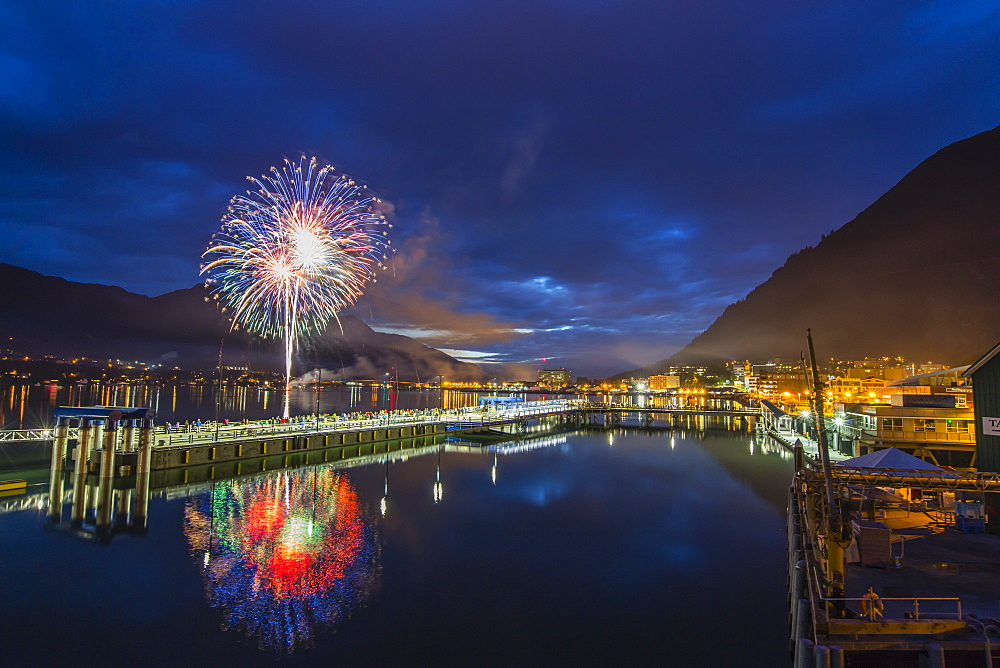 July 4th fireworks from downtown in the harbor of Juneau, Southeast Alaska, USA. - 1112-3815