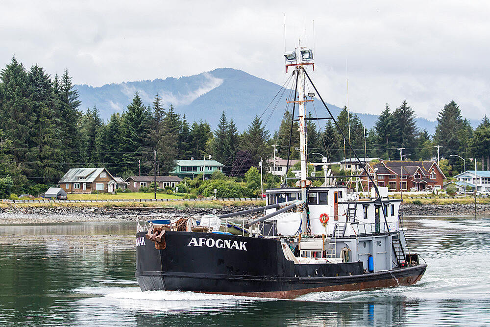 Fishing boat headed to sea in Petersburg, southeast Alaska, USA. - 1112-3838