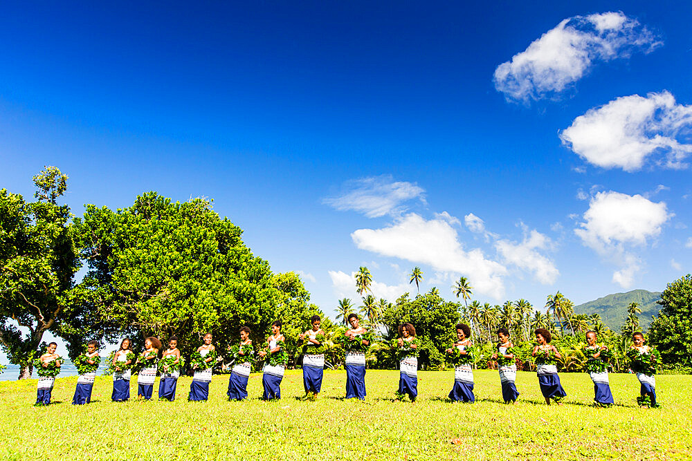 Children from the township of Waitabu perform traditional dance on Taveuni Island, Republic of Fiji. - 1112-3851