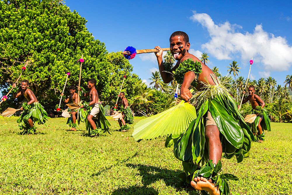 Children from the township of Waitabu perform traditional dance on Taveuni Island, Republic of Fiji. - 1112-3853