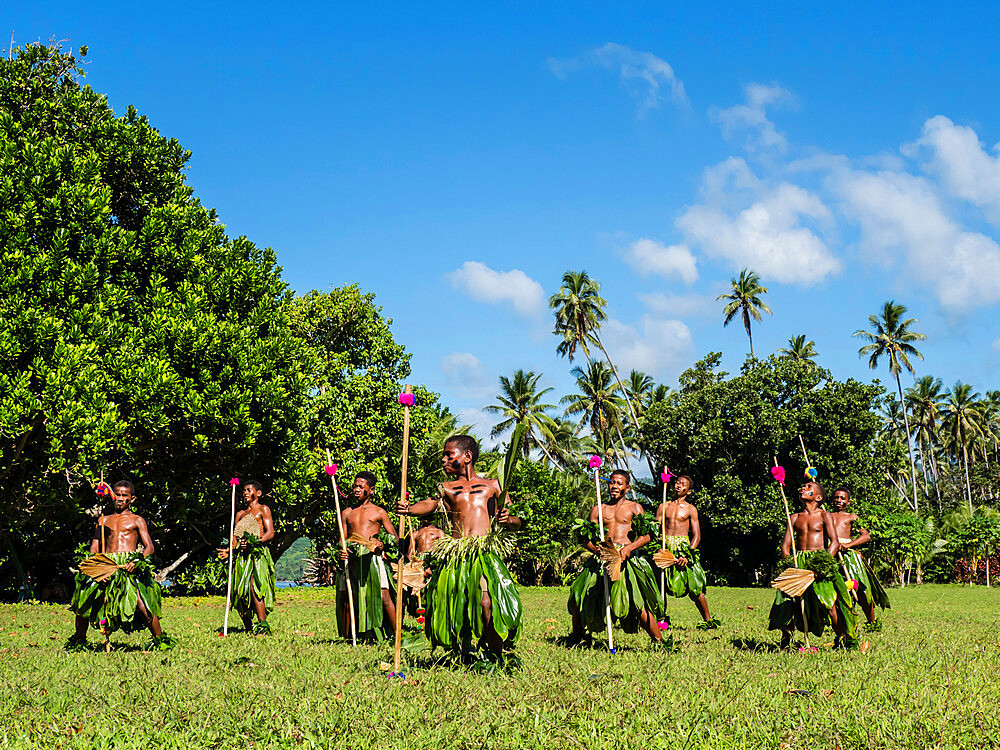 Children from the township of Waitabu perform traditional dance on Taveuni Island, Republic of Fiji. - 1112-3855