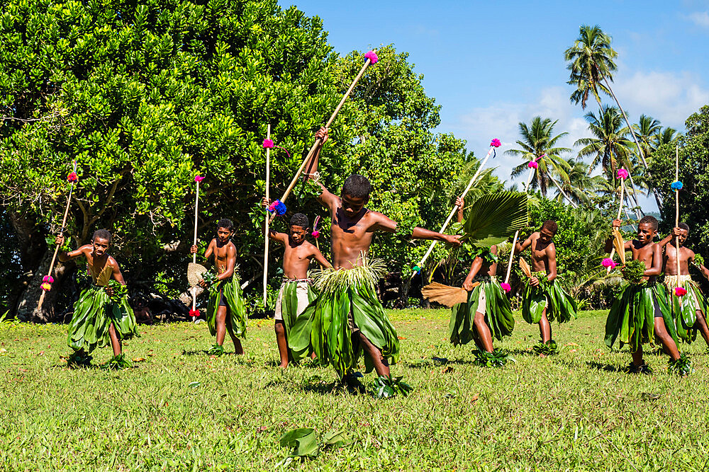 Children from the township of Waitabu perform traditional dance on Taveuni Island, Republic of Fiji. - 1112-3856