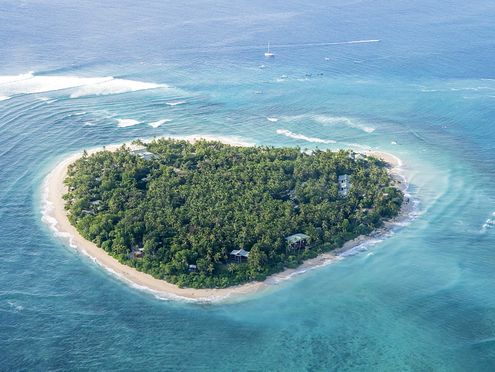 Aerial view of the heart-shaped island of Tavarua, near Viti Levu, Republic of Fiji. - 1112-3876