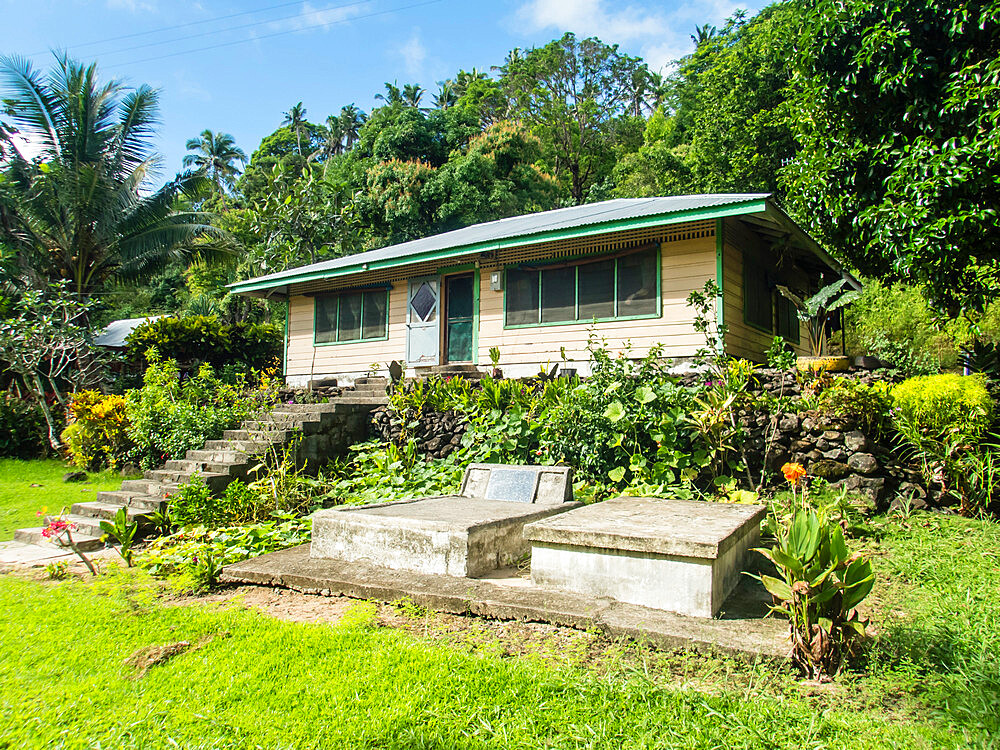 A family home in the town of Lufilufi on the island of Upolu, Samoa.