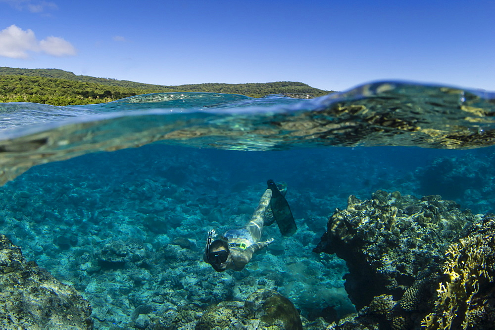 Snorkeling the pristine reefs on the remote Island of Alofi in The French Territory of Wallis and Futuna Islands, South Pacific Islands, Pacific