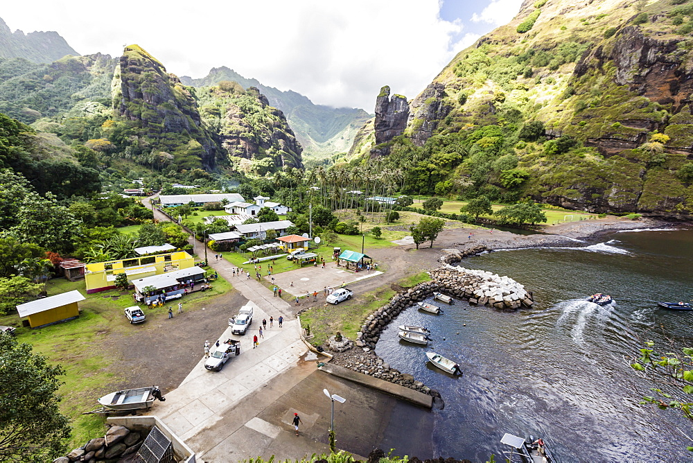 Overlooking the harbor in the town of Hanavave, Fatu Hiva, Marquesas, French Polynesia, South Pacific, Pacific