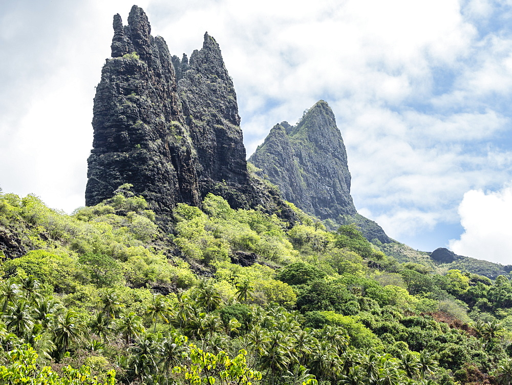 The rugged coastline of Nuku Hiva Island, Marquesas, French Polynesia, South Pacific, Pacific