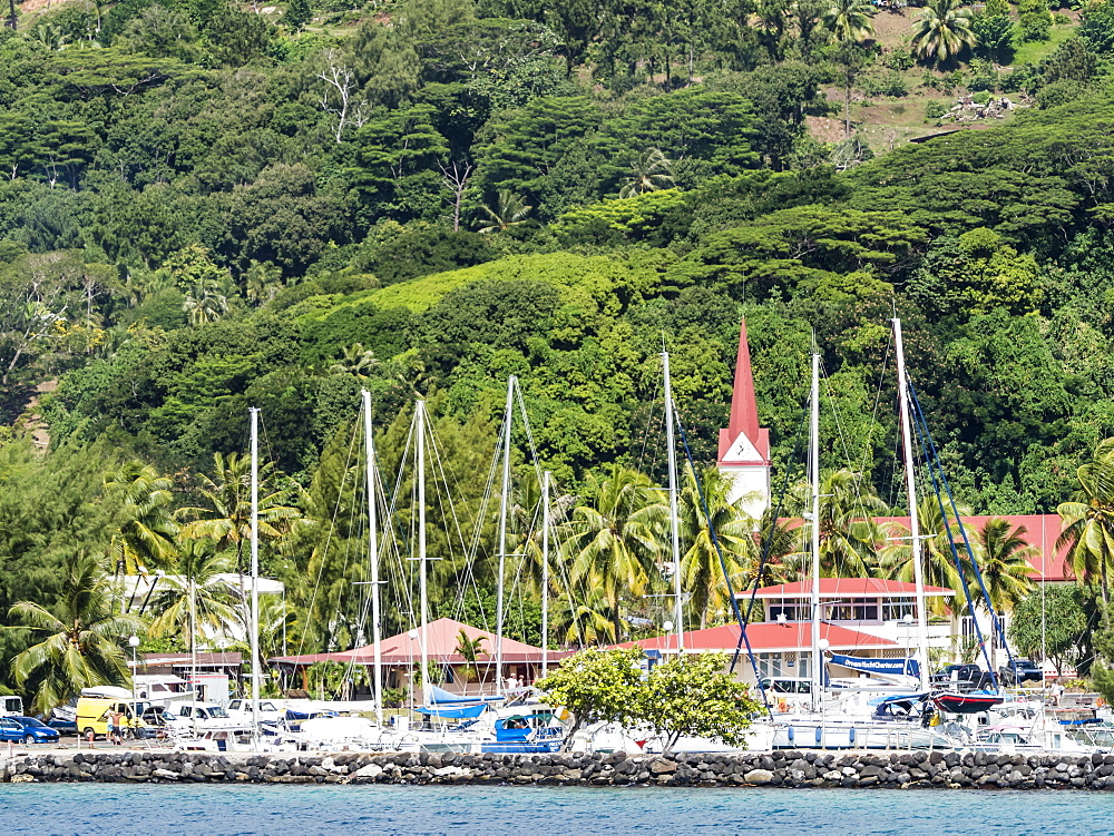The harbor in the town of Uturoa on the island of Raiatea, Society Islands, French Polynesia, South Pacific, Pacific