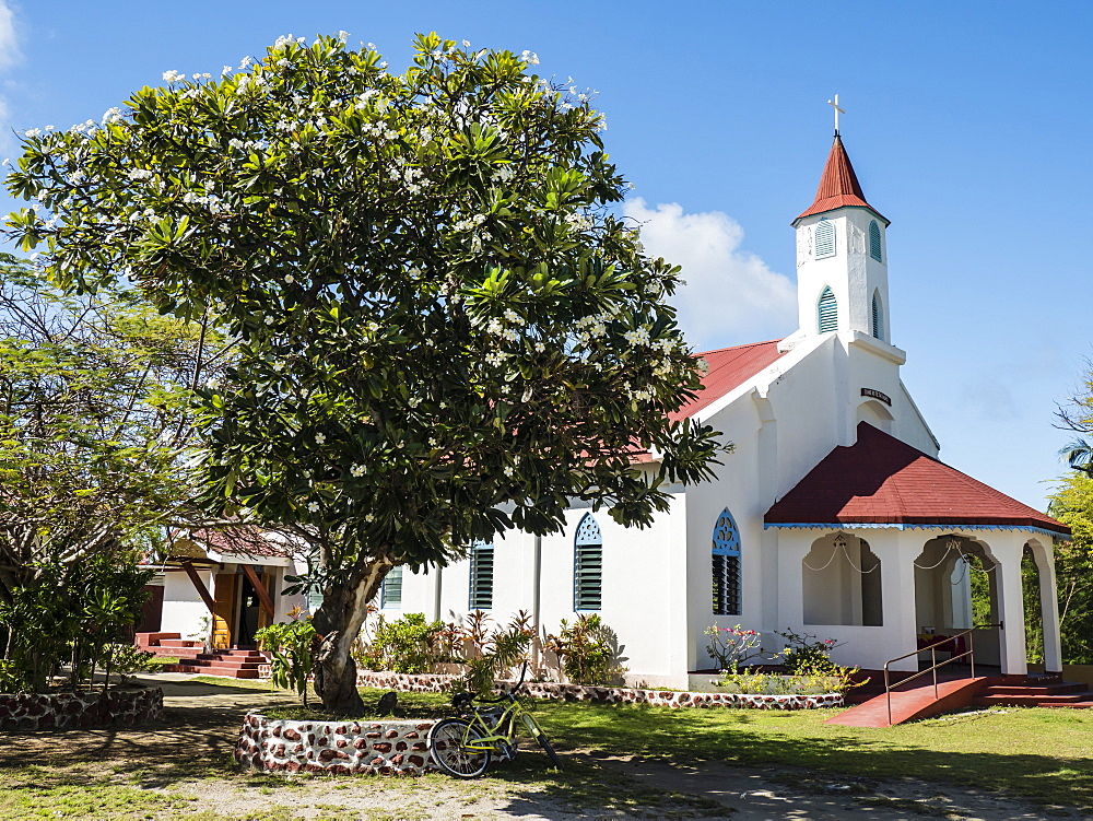 Church built from coral in the small town of Rotoava on Fakarava Atoll, Tuamotus, French Polynesia, South Pacific, Pacific