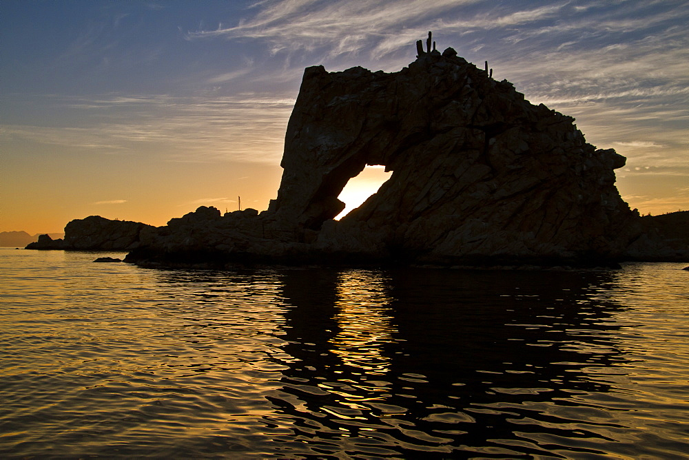 Sunset, Isla Catalina, Gulf of California (Sea of Cortez), Baja California Sur, Mexico, North America