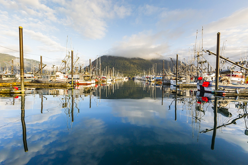 View of the commercial fishing fleet docked in the harbour at Petersburg, Southeast Alaska, United States of America