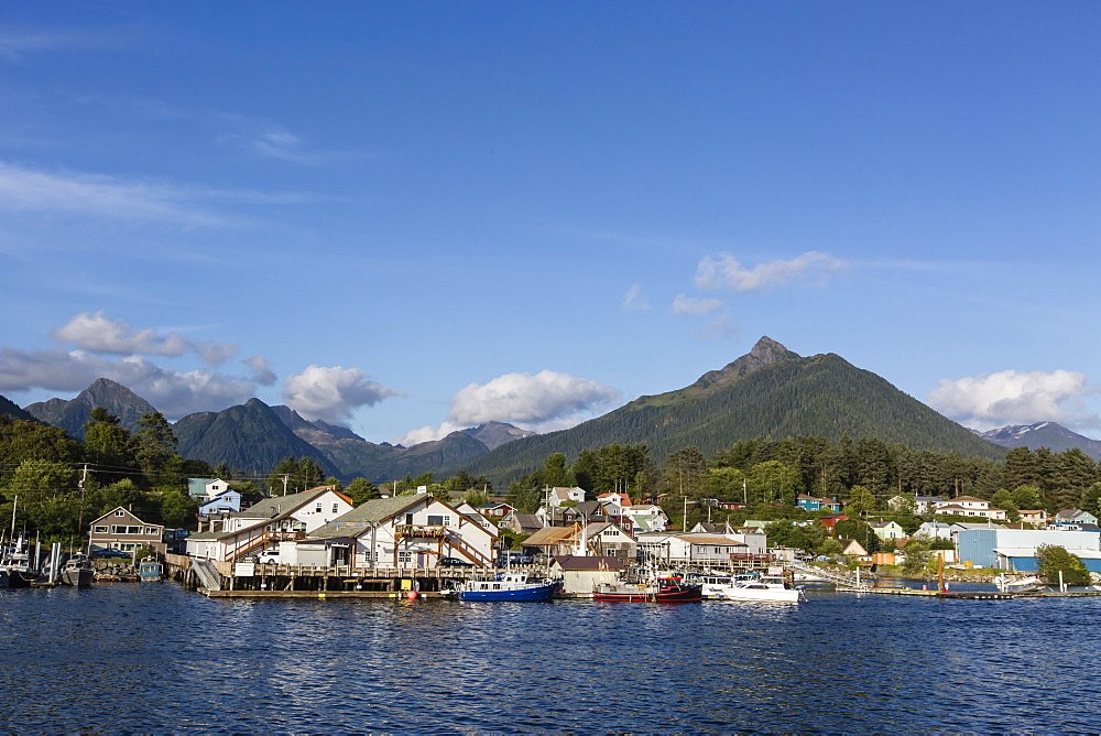 A view of the commercial fishing docks and waterfront in Sitka, Baranof Island, Southeast Alaska, USA.