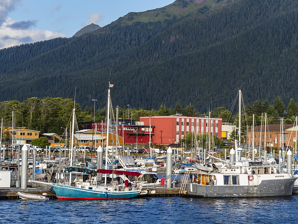 A view of the commercial fishing docks in Sitka, Baranof Island, Southeast Alaska, United States of America